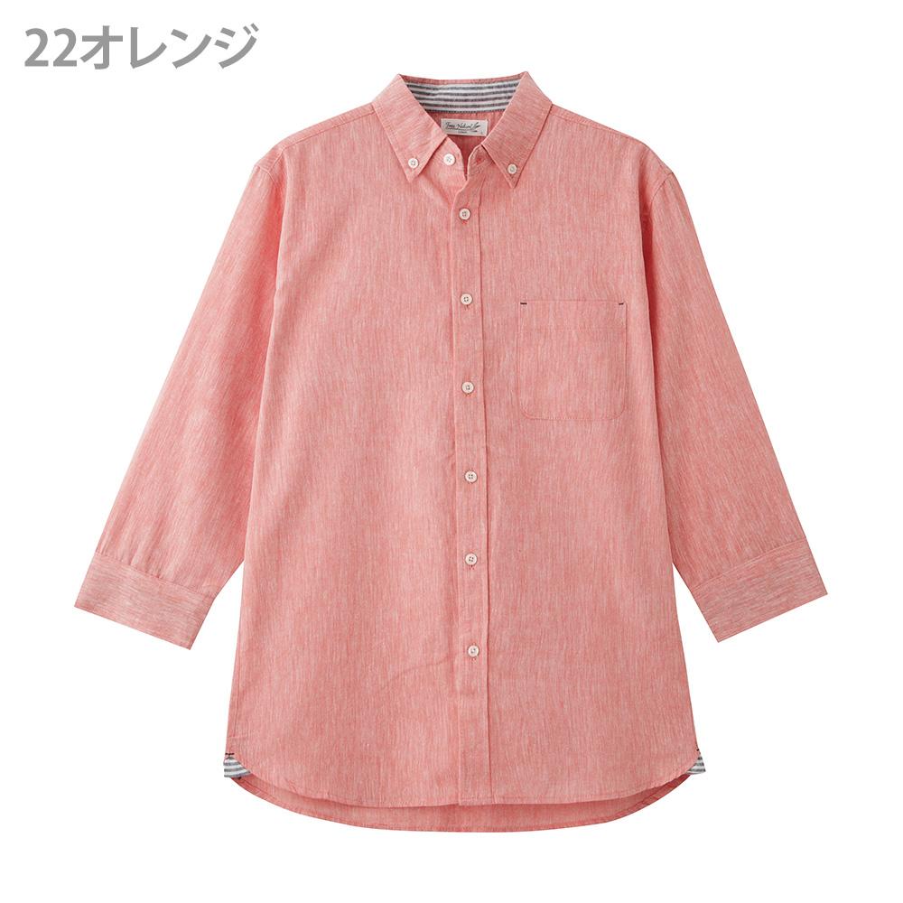 リネン混七分袖シャツ